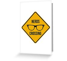 Nerds crossing. Caution sign. Greeting Card