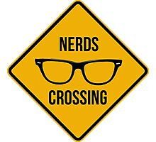 Nerds crossing. Caution sign. Photographic Print