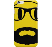 Hipster emoticon with beard and glasses. iPhone Case/Skin