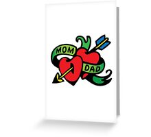 Vintage Tatoo Heart Arrow Banner. Mom and Dad Greeting Card