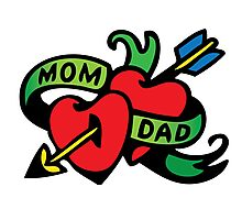 Vintage Tatoo Heart Arrow Banner. Mom and Dad Photographic Print