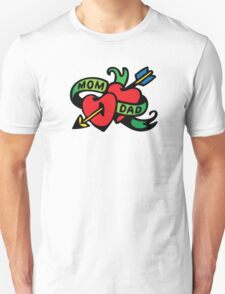 Vintage Tatoo Heart Arrow Banner. Mom and Dad T-Shirt