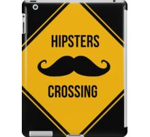Hipsters crossing. Moustache caution sign. iPad Case/Skin