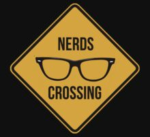Nerds crossing. Caution sign. by 2monthsoff