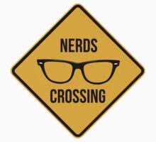 Nerds crossing. Caution sign. Kids Clothes