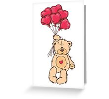 Cute Teddy Bear Valentine With Heart Balloons Greeting Card