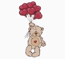 Cute Teddy Bear Valentine With Heart Balloons Kids Clothes