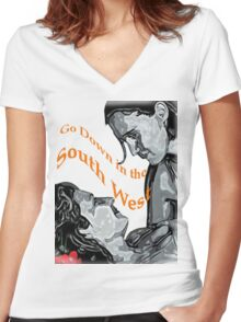 Going down in the Southwest Women's Fitted V-Neck T-Shirt