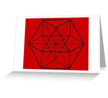 Cube Octahedron Red Greeting Card