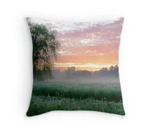 Fog By The Tree Throw Pillow