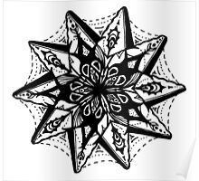 Star Tangles 1 Black - An Aussie Tangle by Heather Holland - See Description Notes for Colour Options.  Poster