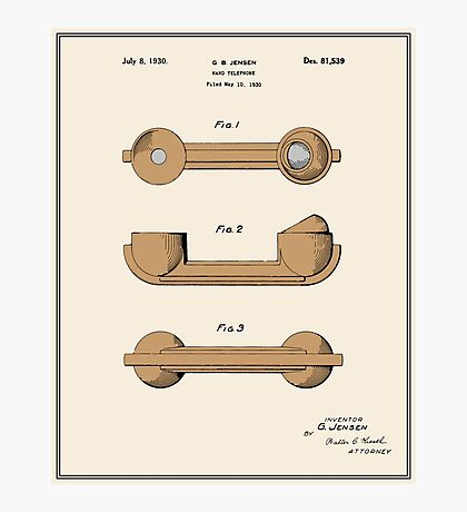 Telephone Handset Patent - Colour Photographic Print