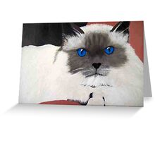 All in the EYES Birman Blue cat portrait oil painting Greeting Card