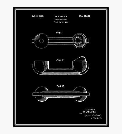 Telephone Handset Patent - Black Photographic Print