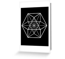 White on Black cube-octahedron  Greeting Card