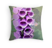 abstract of foxglove with bees behind Throw Pillow