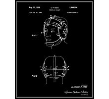 Wrestling Helmet Patent - Black Photographic Print