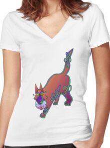 Celtic cat Women's Fitted V-Neck T-Shirt