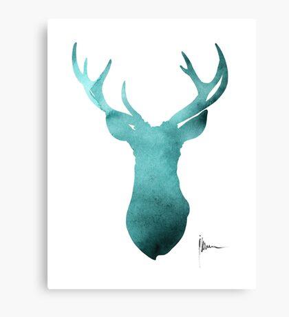 Blue deer antlers watercolor art print painting Canvas Print