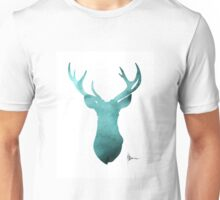 Blue deer antlers watercolor art print painting Unisex T-Shirt