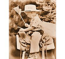 The Littlest Cowboy taking a Ride through Time Photographic Print