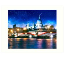 London Skyline By Night - St Pauls Cathedral Art Print