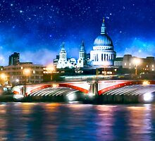 London Skyline By Night - St Pauls Cathedral by Mark Tisdale