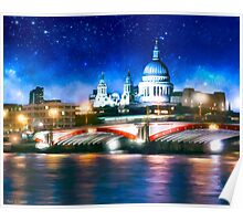 London Skyline By Night - St Pauls Cathedral Poster