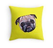Butch the Pug - Yellow Throw Pillow