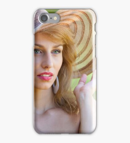Beautiful blonde with hat outdoors iPhone Case/Skin