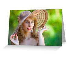 Beautiful blonde with hat outdoors Greeting Card