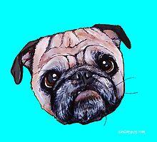 Butch the Pug - Cyan by PAINTMYPUG