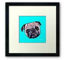 Butch the Pug - Cyan Framed Print