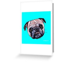 Butch the Pug - Cyan Greeting Card