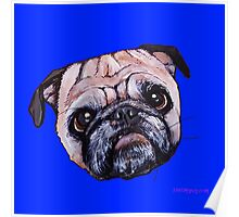 Butch the Pug - Blue Poster