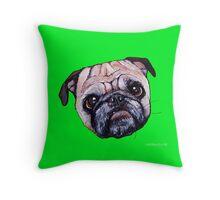 Butch the Pug - Green Throw Pillow