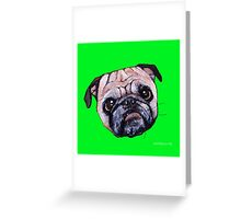 Butch the Pug - Green Greeting Card