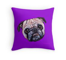 Butch the Pug - Purple Throw Pillow