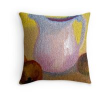 Old Pitcher with Peaches in Oils Throw Pillow