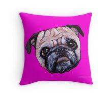 Butch the Pug - Pink Throw Pillow