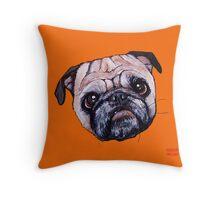 Butch the Pug - Orange Throw Pillow