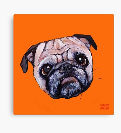 Butch the Pug - Orange Canvas Print