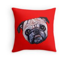 Butch the Pug - Red Throw Pillow