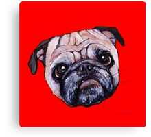 Butch the Pug - Red Canvas Print