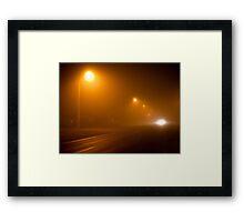 Road in a very foggy night Framed Print