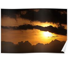 Dramatic sunset with dark clouds Poster