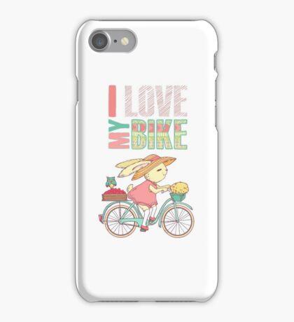 Cute rabbit riding a bike iPhone Case/Skin