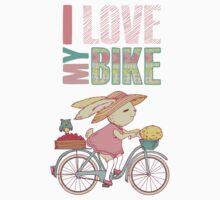 Cute rabbit riding a bike Kids Clothes