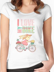 Cute rabbit riding a bike Women's Fitted Scoop T-Shirt