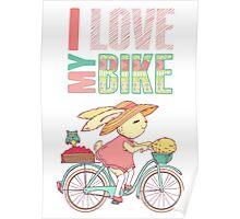 Cute rabbit riding a bike Poster